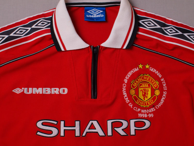 1998 00 manchester united 39 treble winners 39 home shirt xl for Epl table 1998 99