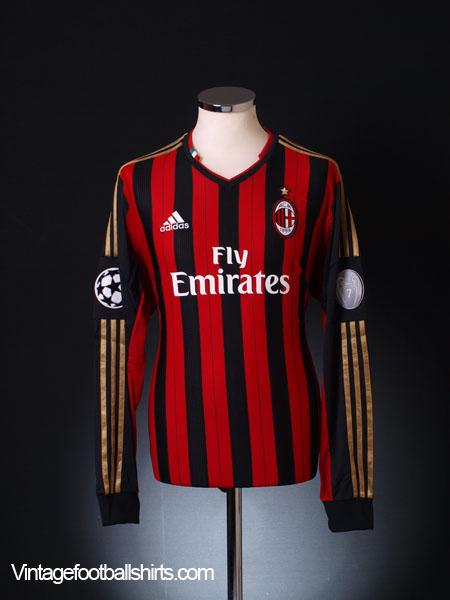 2013-14 AC Milan Champions League Home Shirt *BNIB* L/S ...