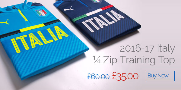 2016-17 Italy 1/4 Zip Training Top - Was £60 now £35 - Buy now