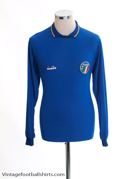1986-90 Italy Player Issue Home Shirt #8 L/S L