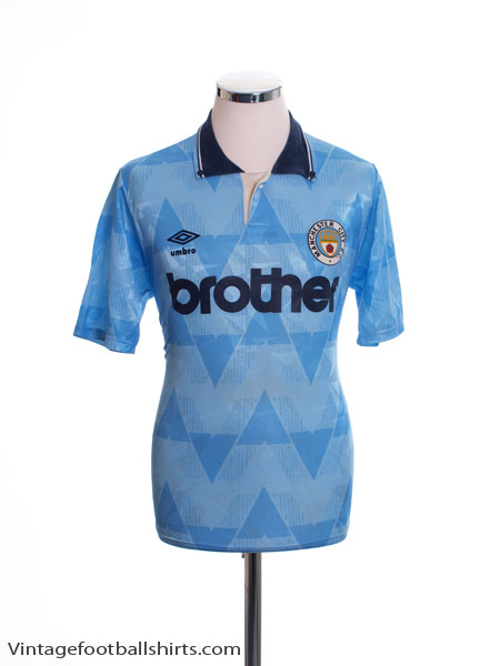1989-91 Manchester City Home Shirt S
