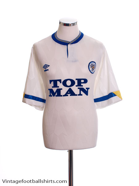 1990-91 Leeds Home Shirt L