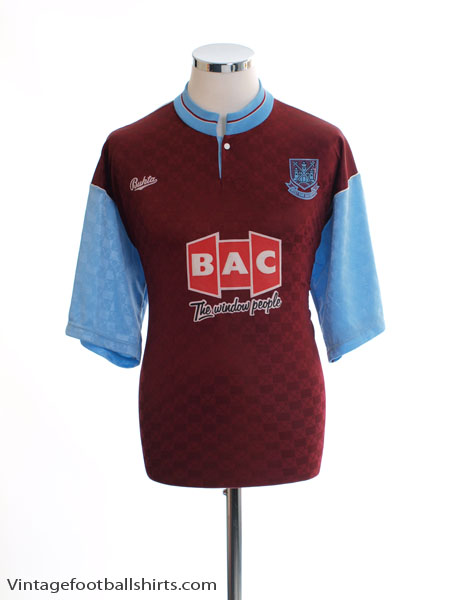 1990-91 West Ham Home Shirt *Mint* M