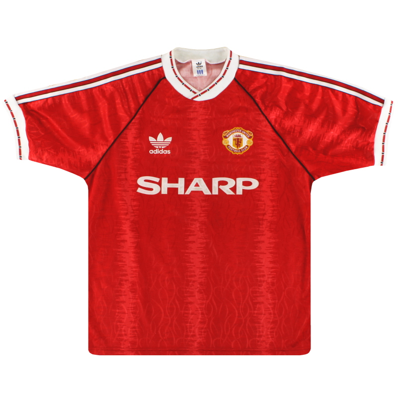 1990-92 Manchester United adidas Home Shirt L