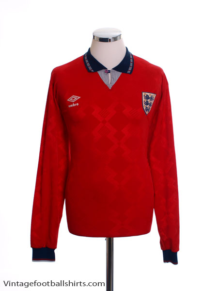 1990-93 England Away Shirt L/S L