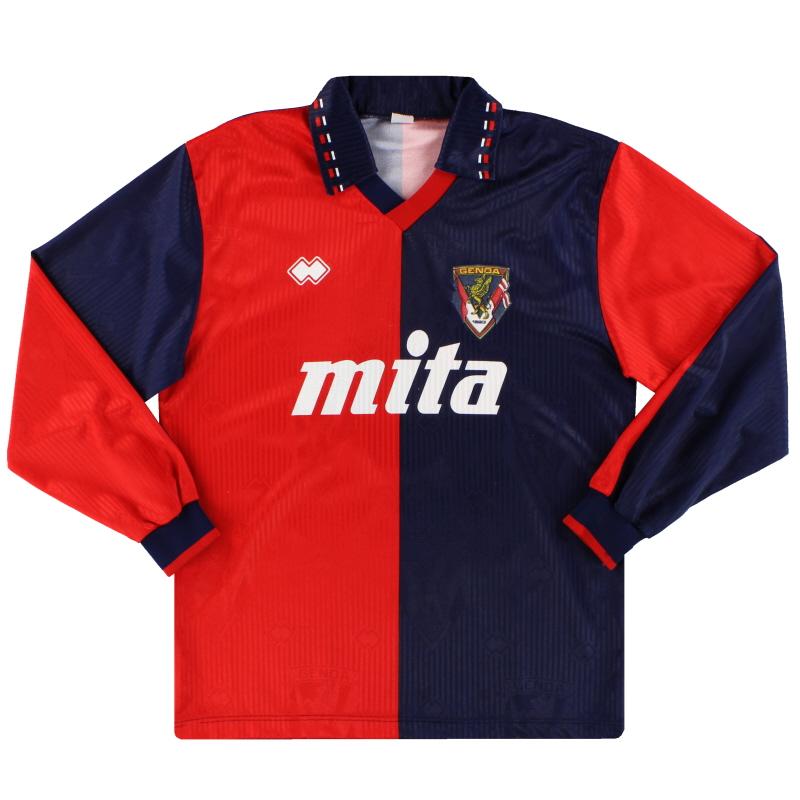 1991-92 Genoa Errea Home Shirt L/S #9 L