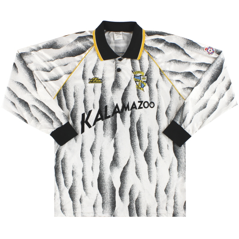 1991-92 Port Vale Match Issue Home Shirt L/S #3 L