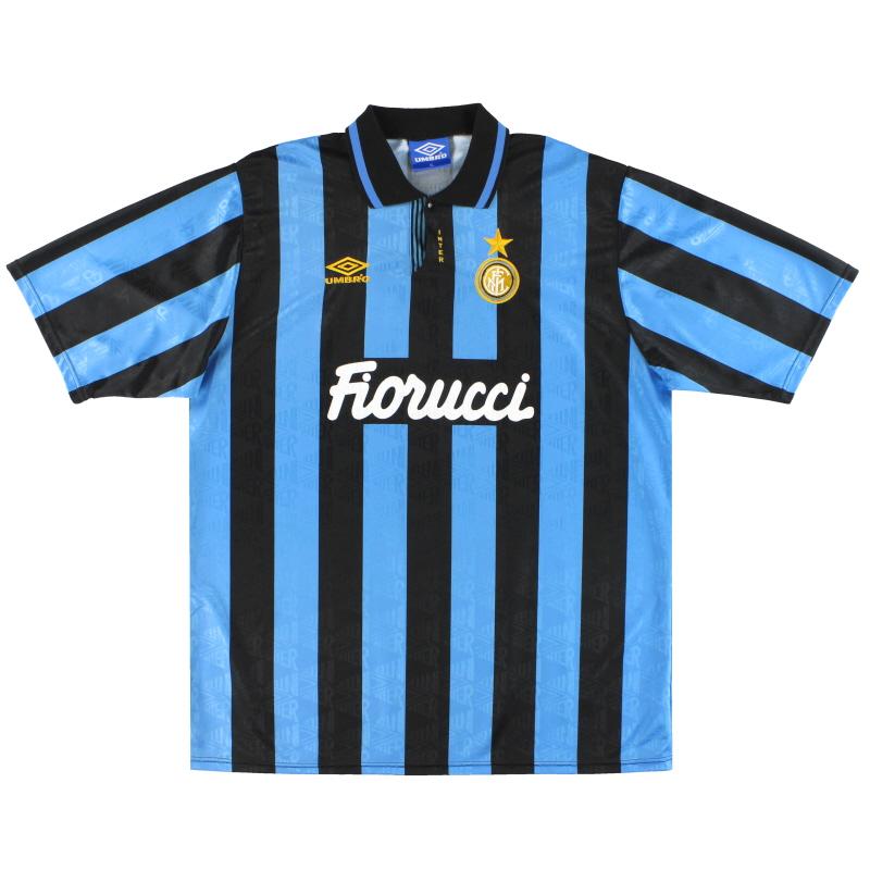 T-Shirts 1992-94 Inter Milan Umbro Match Issue Home Shirt #11 *Mint* XL