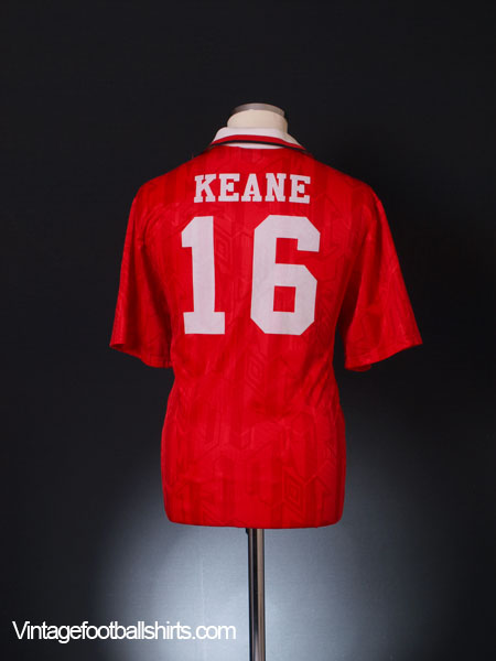 1992-94 Manchester United Home Shirt Keane #16 L