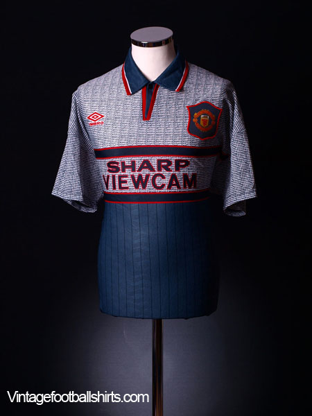 1995-96 Manchester United Grey Away Shirt L