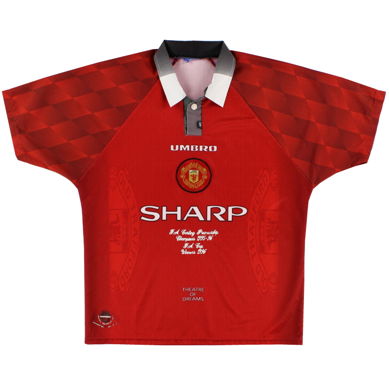 1996-98 Manchester United 'Double Winners' Home Shirt XL