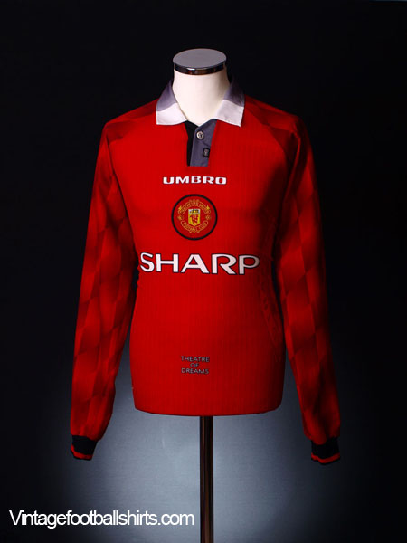 1996-98 Manchester United Home Shirt *Mint* L/S XL
