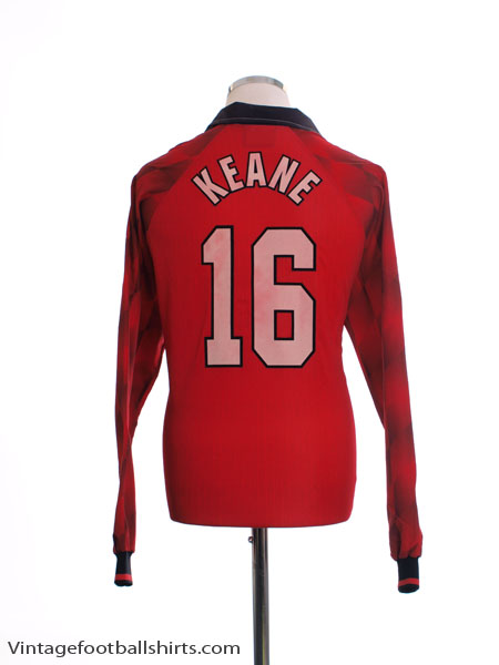 1996-98 Manchester United Home Shirt Keane #16 L/S *Mint* XL
