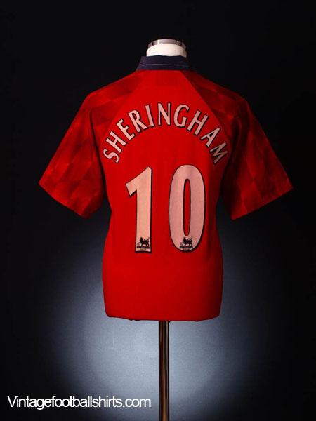 f55d9773c24 1996-98 Manchester United Home Shirt Sheringham  10 L for sale