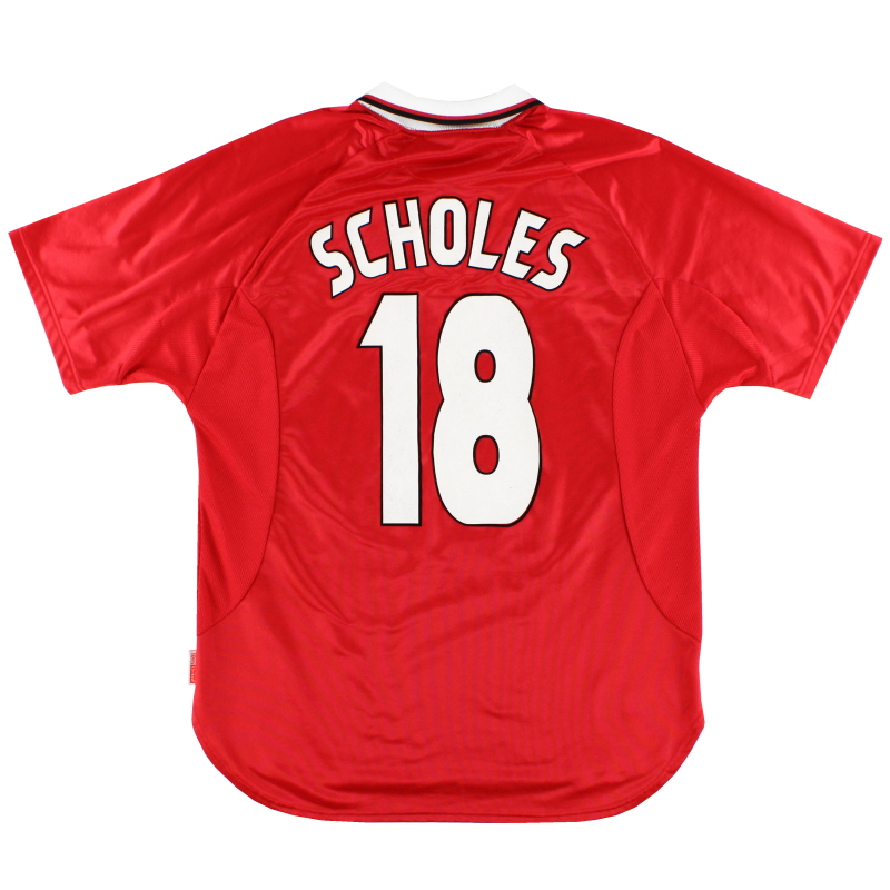 1997-00 Manchester United Champions League Home Shirt Scholes #18 L