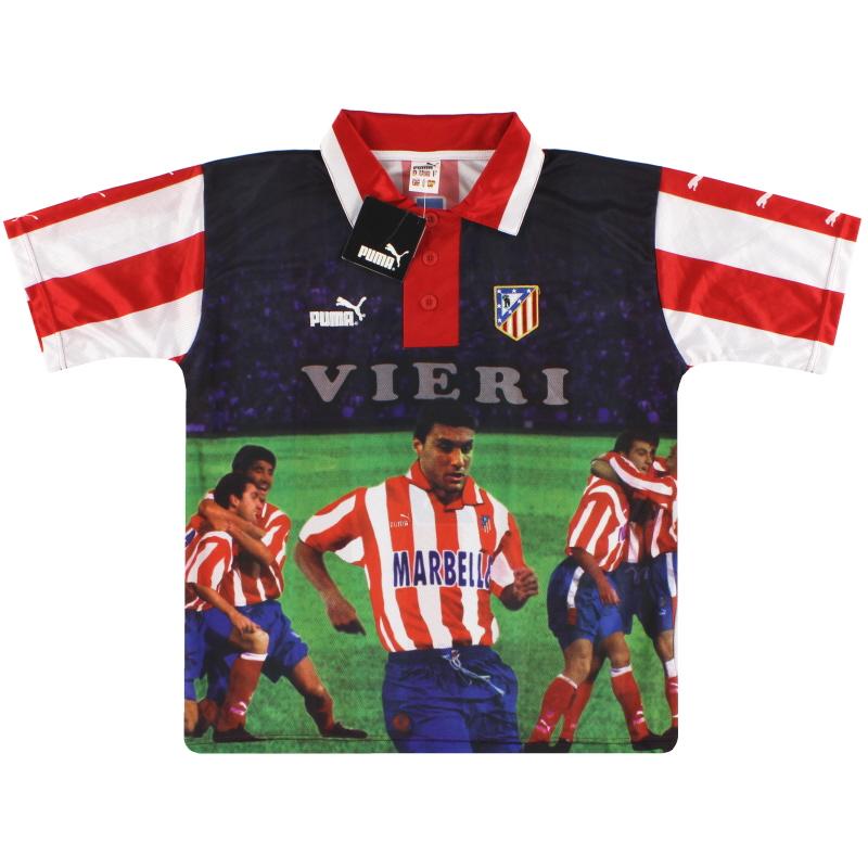 1997-98 Atletico Madrid Puma Graphic Tee Vieri #9 *w/tags* S