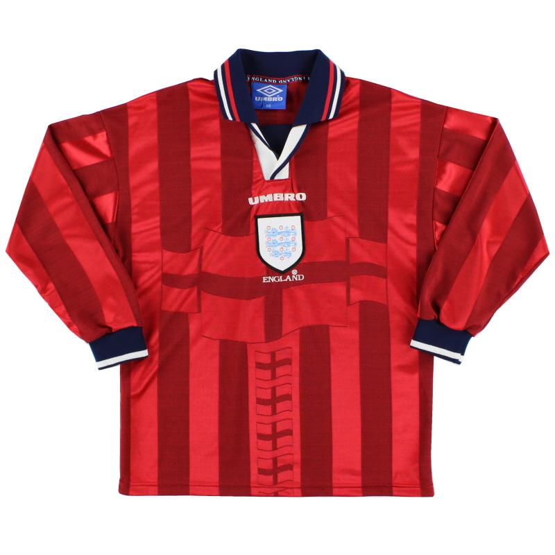 1997-99 England Away Shirt L/S Y