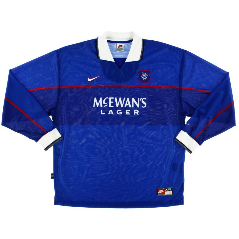 1997-99 Rangers Home Shirt L/S XXL