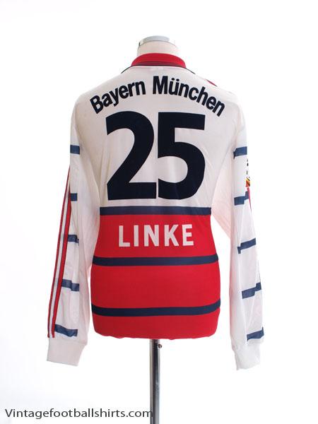 1998-00 Bayern Munich Match Issue Away Shirt Linke #25 L/S XL