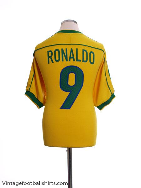 1998-00 Brazil Home Shirt Ronaldo #9 M