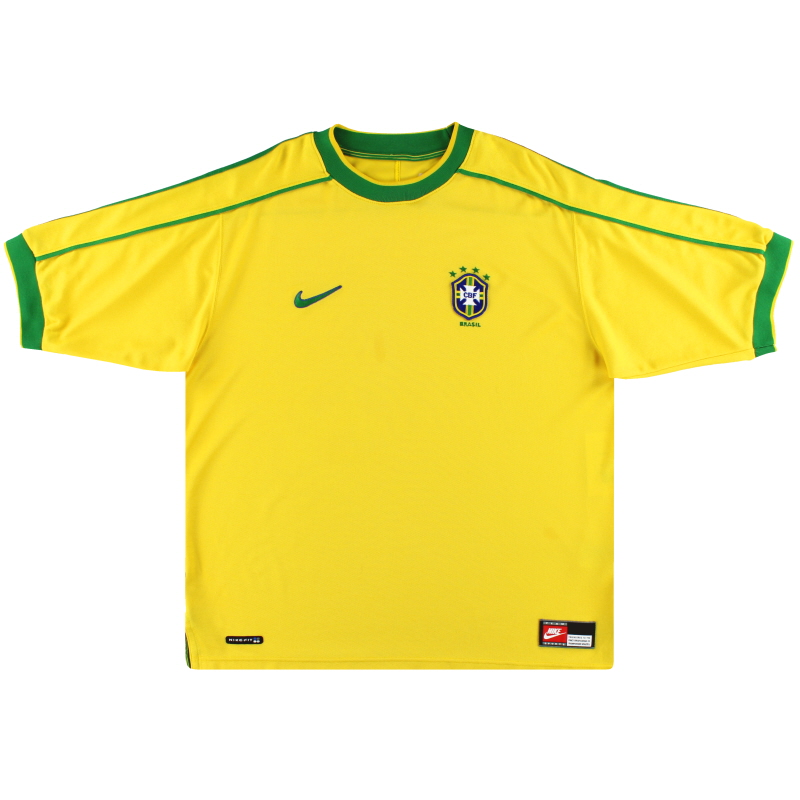 1998-00 Brazil Nike Home Shirt L - 152577-703