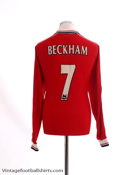 1998-00 Manchester United Home Shirt Beckham #7 L/S XL