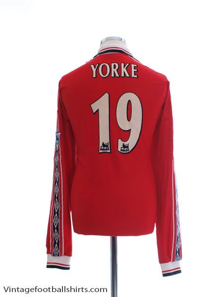1998-00 Manchester United Home Shirt Yorke #19 L/S XXL