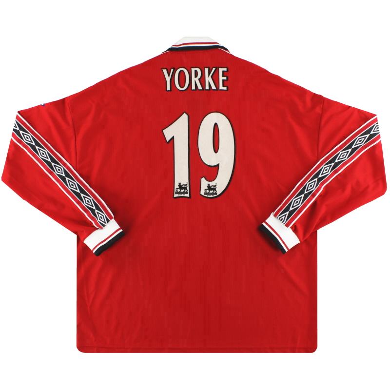 1998-00 Manchester United Umbro Home Shirt Yorke #19 L/S XXL - 735240