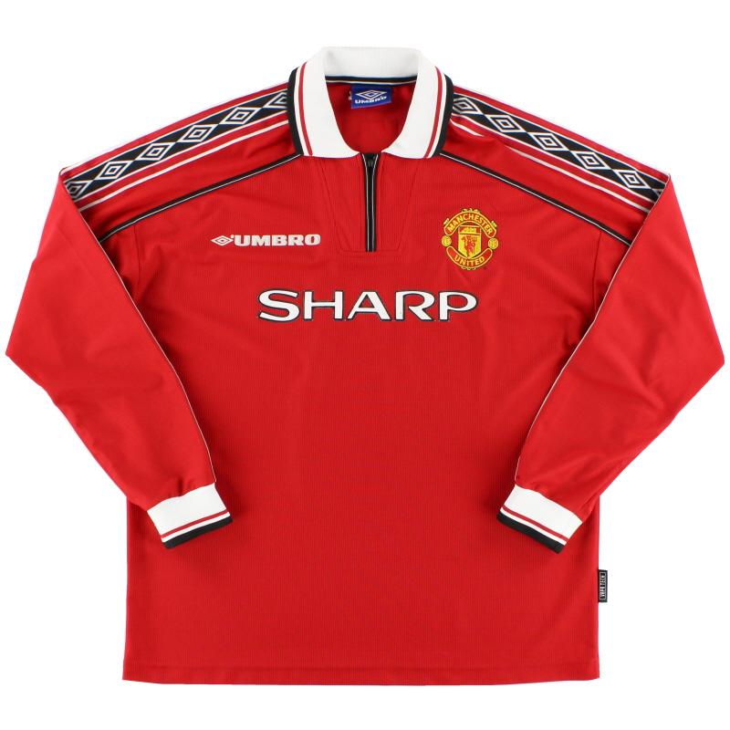 1998-99 Manchester United Umbro Home Shirt L/S XL