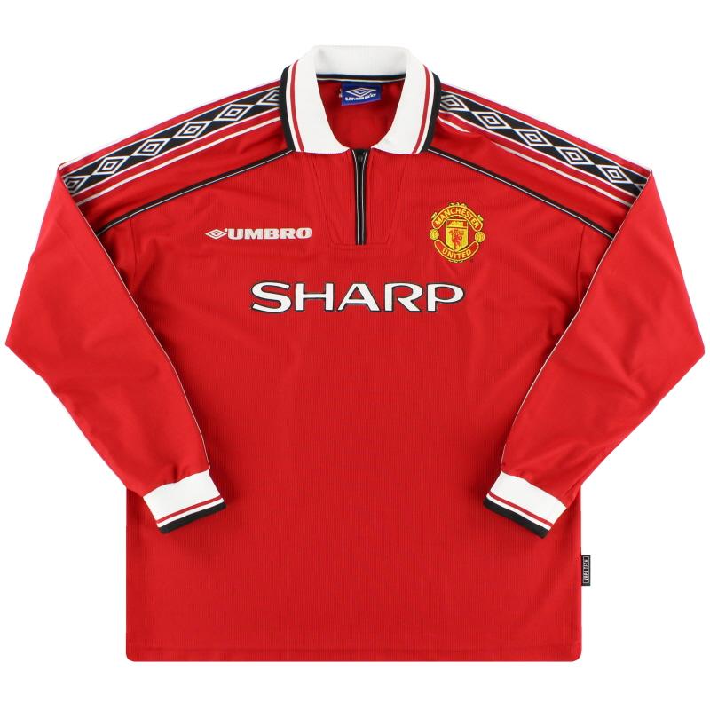 1998-99 Manchester United Umbro Home Shirt L/S L