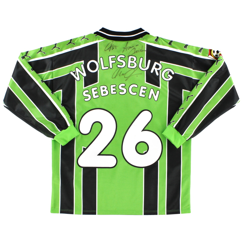 1998-99 Wolfsburg Match Issue Signed Shirt Sebescen #26
