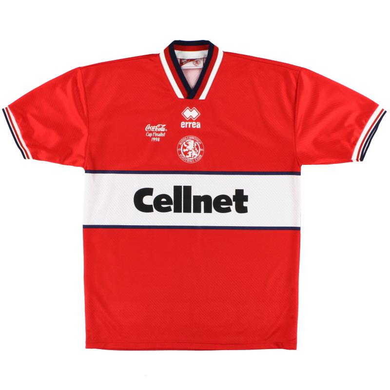 1998 Middlesbrough Errea 'Coca-Cola Cup Finalist' Home Shirt *Mint* L