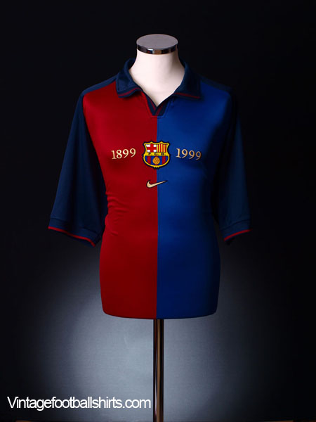 1999-00 Barcelona Centenary Home Shirt L