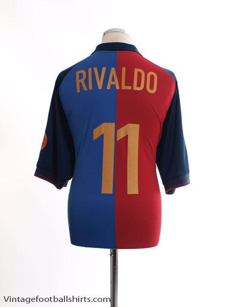 1999-00 Barcelona Centenary Home Shirt Rivaldo #11 XL