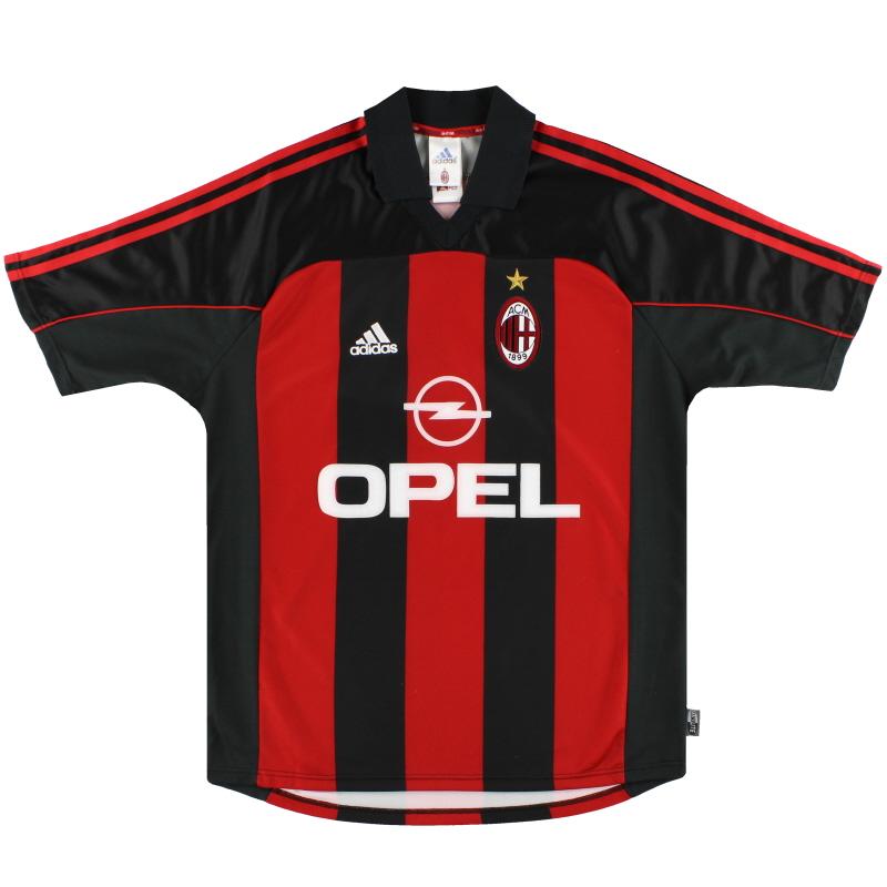 2000-02 AC Milan adidas Player Issue Home Shirt #13 M