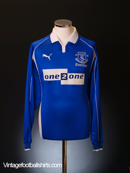 2000-02 Everton Home Shirt L/S L
