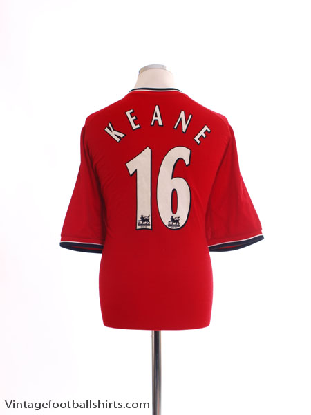 2000-02 Manchester United Home Shirt Keane #16 L