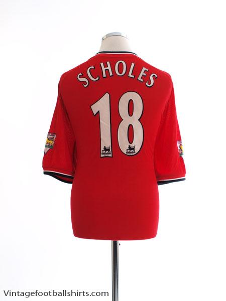 2000-02 Manchester United Home Shirt Scholes #18 XXL