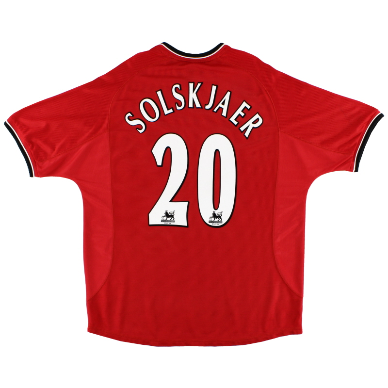 2000-02 Manchester United Umbro Home Shirt Solskjaer #20 XL - 735528