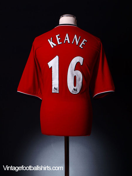 2000-02 Manchester United Home Shirt Keane #16 XL