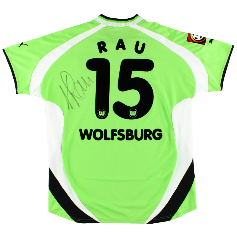 2001-02 Wolfsburg Match Issue Signed Home Shirt Rau #15 XXL
