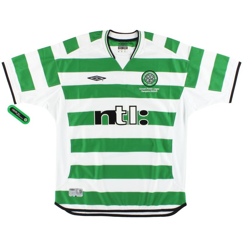 2001-03 Celtic Umbro 'Champions' Home Shirt *w/tags* L - 735607