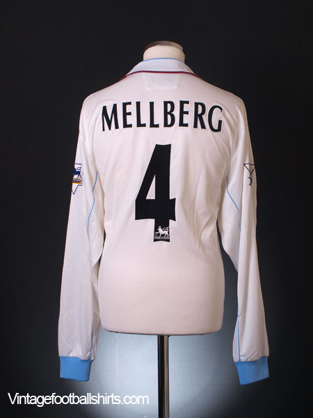 2002-03 Aston Villa Match Issue Away Shirt Mellberg #4 L/S XL