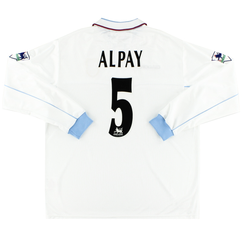 2002-03 Aston Villa Match Issue Away Shirt Alpay #5 L/S XL