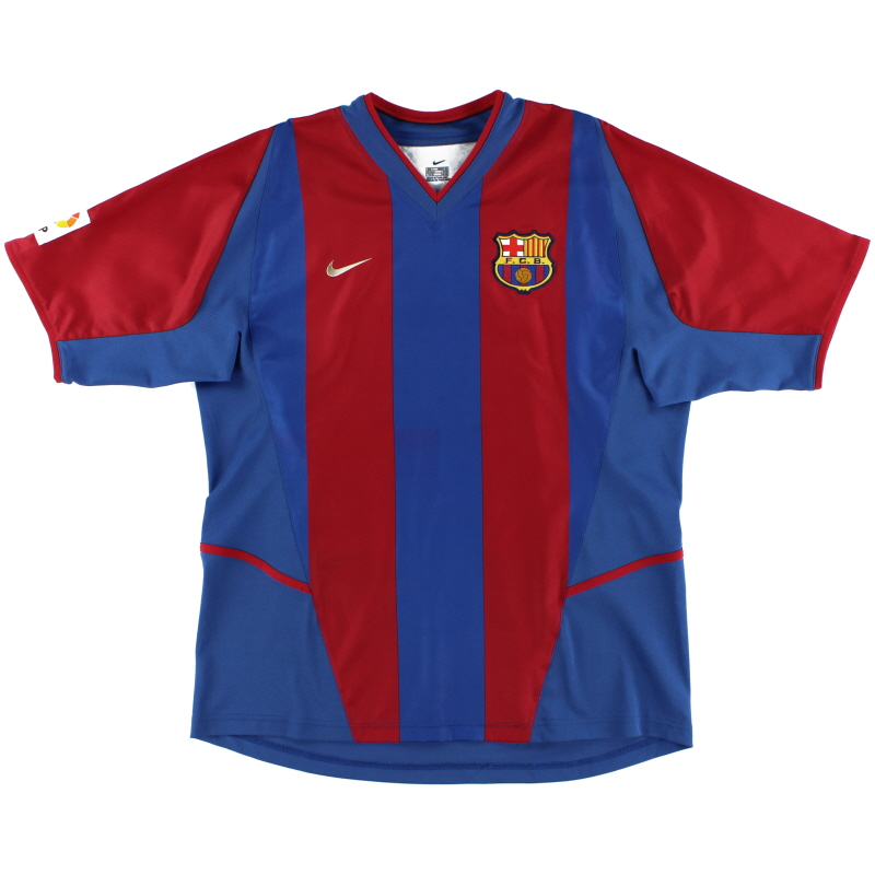 2002-03 Barcelona Player Issue Home Shirt L