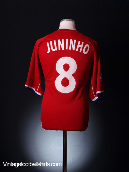 2002-03 Lyon Champions League Match Issue European Shirt Juninho #8 L