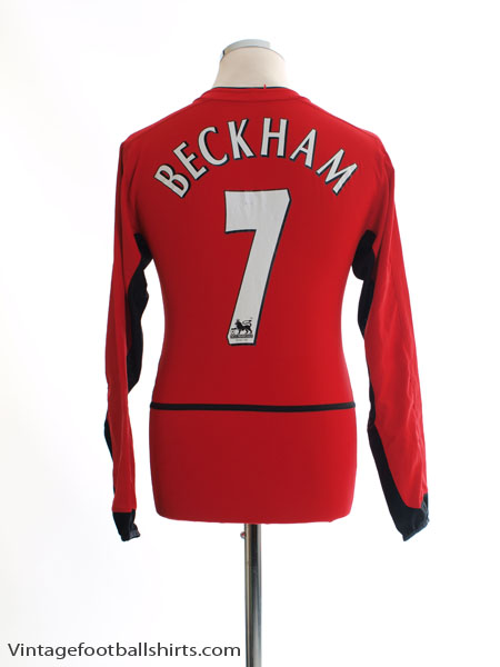 2002-03 Manchester United Home Shirt Beckham #7 L/S Y