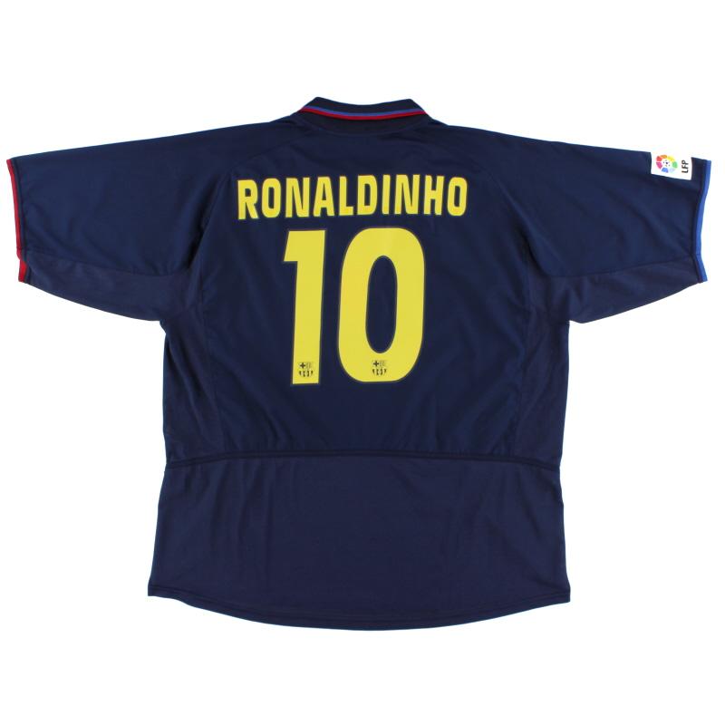 2002-04 Barcelona Away Shirt Ronaldinho #10 XXL