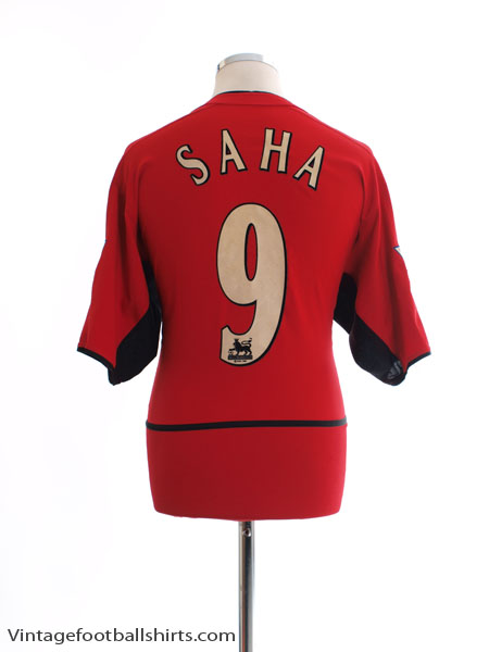 2002-04 Manchester United Home Shirt Saha #9 L - 184947