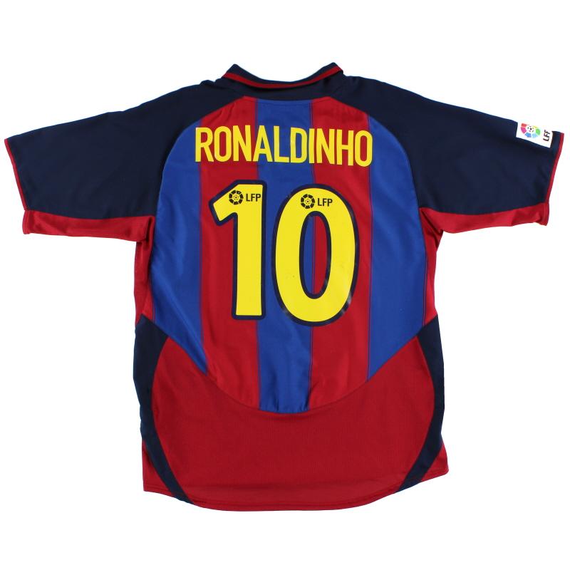 2003-04 Barcelona Home Shirt Ronaldinho #10 L - 112586